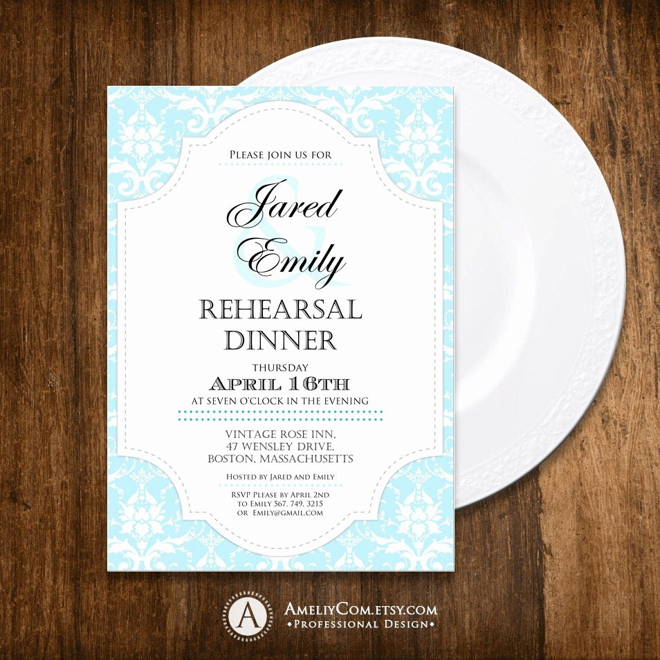 Rehearsal Dinner Menu Template Awesome Printable Rehearsal Dinner Invitation Blue Damask Weddings