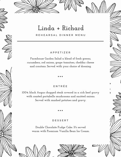 Rehearsal Dinner Menu Template Awesome White Floral Pattern Rehearsal Dinner Menu Templates by