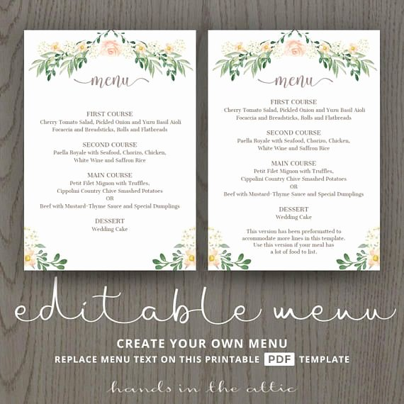 Rehearsal Dinner Menu Template Beautiful Rustic Wedding Menu Rehearsal Dinner Menu Template Sit