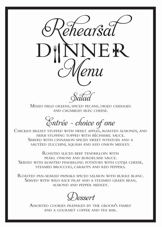 Rehearsal Dinner Menu Template Elegant Elegant Wedding Rehearsal Dinner Menu 5x7 Digital File