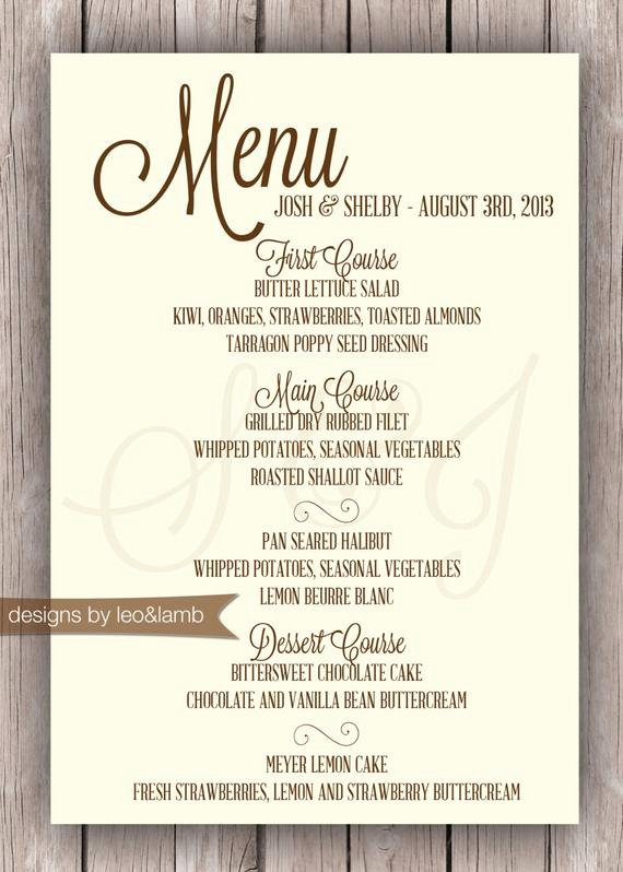 Rehearsal Dinner Menu Template Elegant Items Similar to Wedding or Rehearsal Dinner Menu