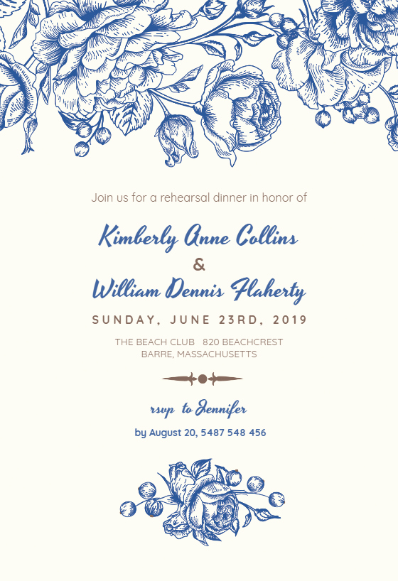 Rehearsal Dinner Menu Template Elegant touch Of Rose Rehearsal Dinner Party Invitation Template