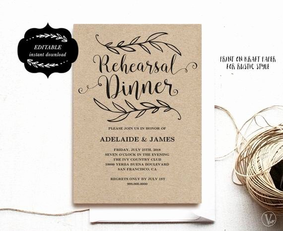 Rehearsal Dinner Menu Template Luxury Printable Rehearsal Dinner Invitation Card Template Kraft