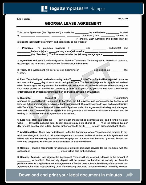Rental Application form Nc Fresh Georgia Residential Lease Rental Agreement