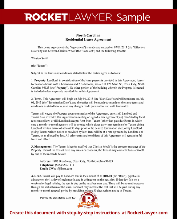 Rental Application form Nc Luxury Nc Lease Agreement north Carolina Residential Lease
