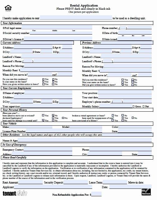Rental Application form Nc New Rental Application Template