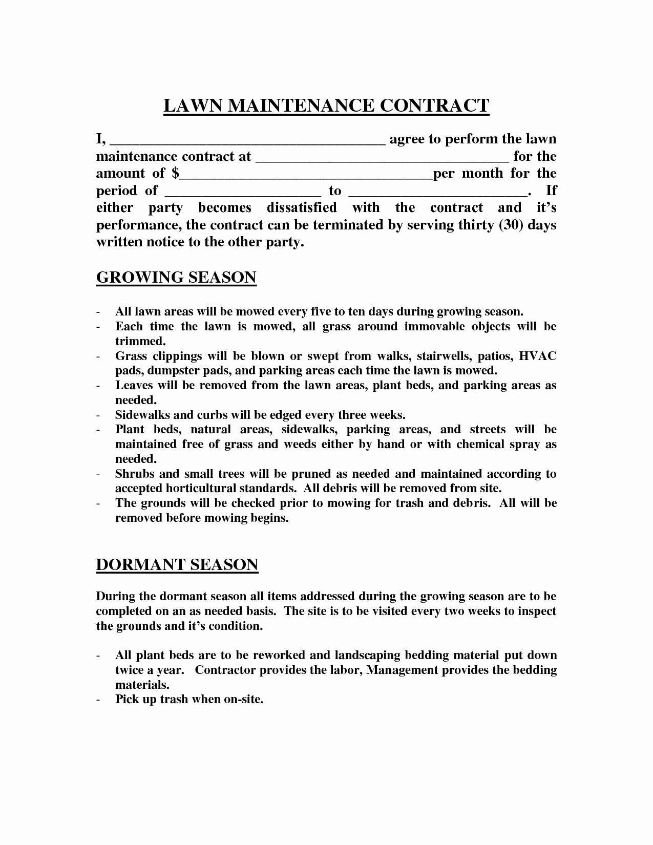 Residential Snow Removal Contract Template Awesome Lawn Maintenance Contract Images Lawn Maintenance Contract Agreement Real State