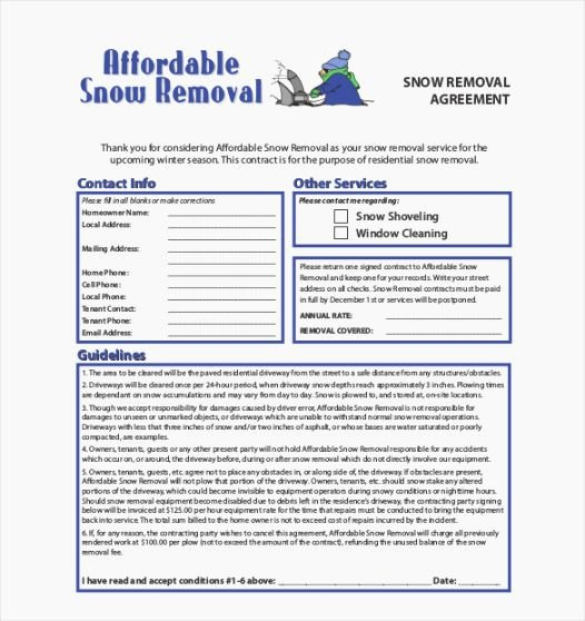 Residential Snow Removal Contract Template Beautiful 39 Peaceful Free Printable Snow Removal Contract