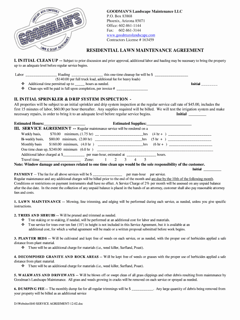 Residential Snow Removal Contract Template Best Of Sample Lawn Service Contract Fill Line Printable Fillable Blank