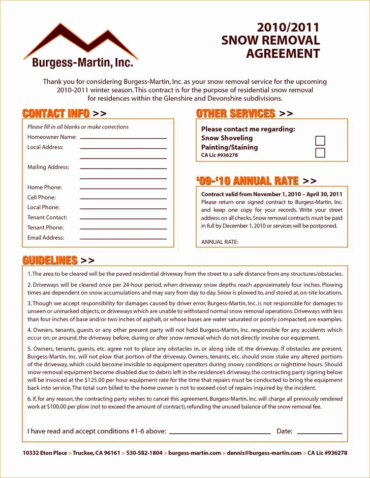 Residential Snow Removal Contract Template Unique 20 Snow Plowing Contract Templates Free Download