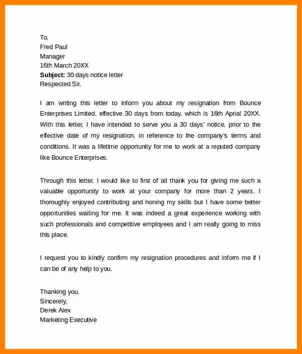 Resignation Letter 30 Days Notice Awesome 9 Resignation Letter 30 Days Notice