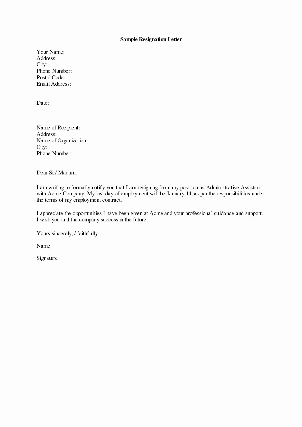 Resignation Letter 30 Days Notice Elegant Ficial Letter Resignation Template Examples