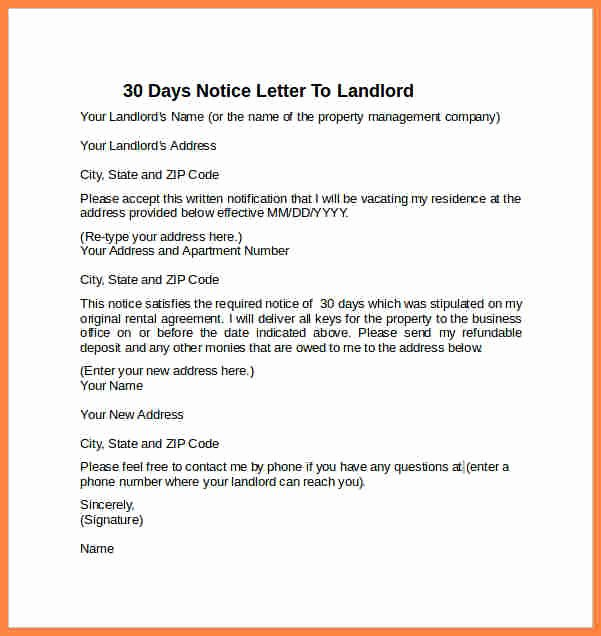 6 example of a 30 day notice