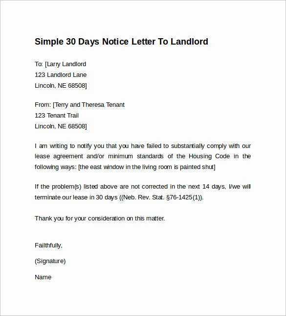 Resignation Letter 30 Days Notice Lovely 10 Sample 30 Days Notice Letters to Landlord In Word