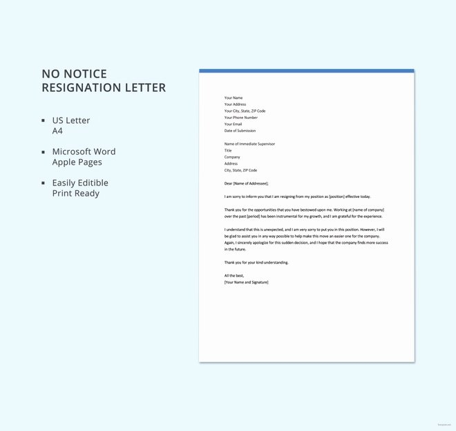 Resignation Letter 30 Days Notice Lovely 11 Notice Of Resignation Letter Templates Doc Pdf