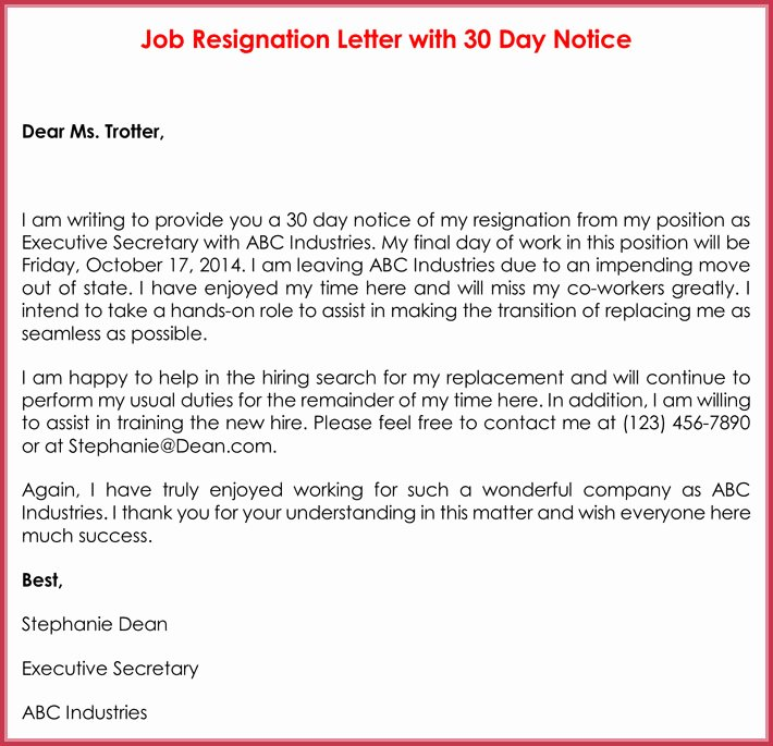 Resignation Letter 30 Days Notice Lovely 30 Day Notice Letter Templates 12 Samples In Word & Pdf format