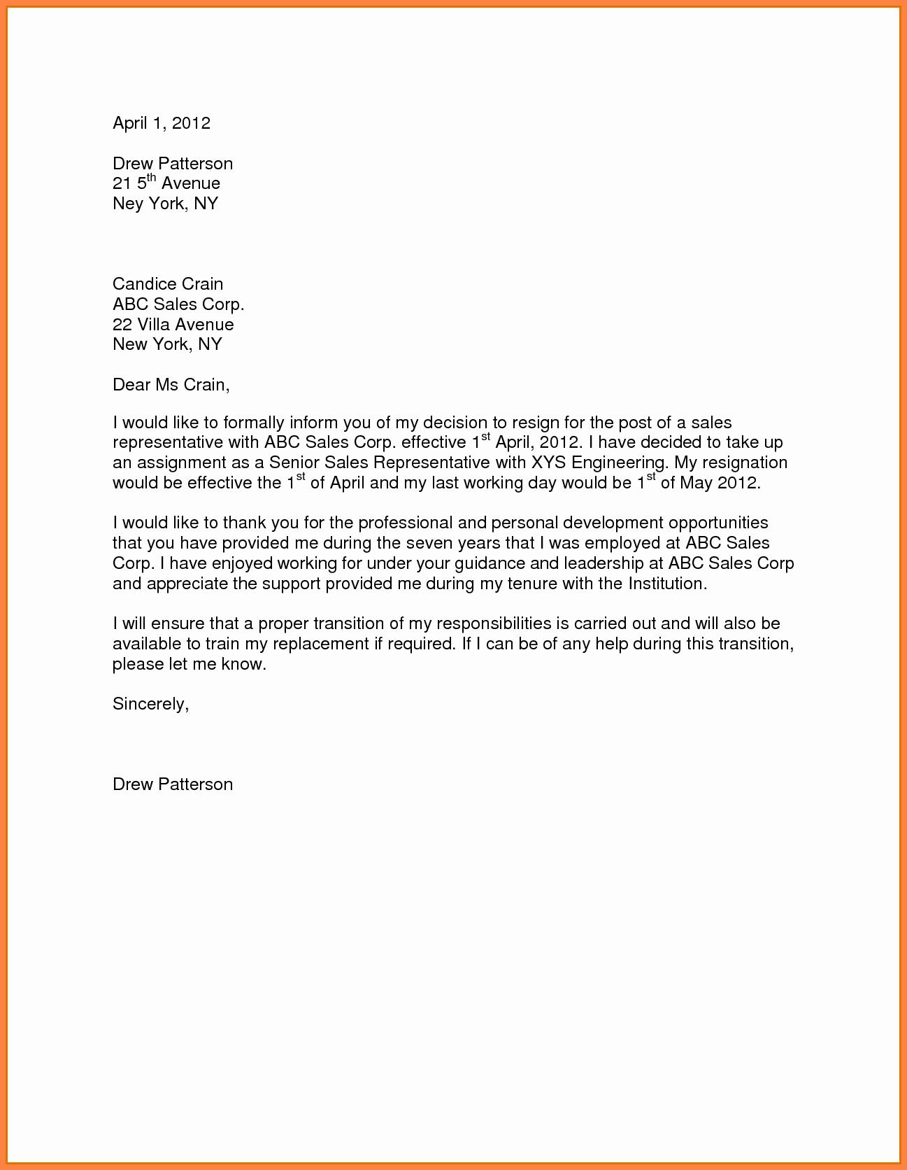 Resignation Letter 30 Days Notice Unique 10 Sample for Resignation Letter One Month Notice