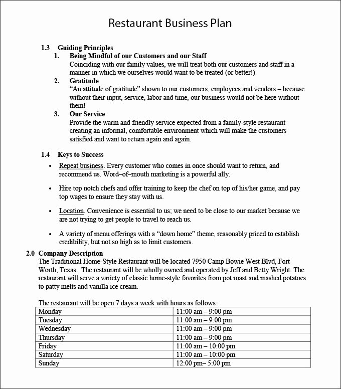 Restaurant Business Plan Pdf Best Of Restaurant Business Plan Template 22 Word Pdf Google