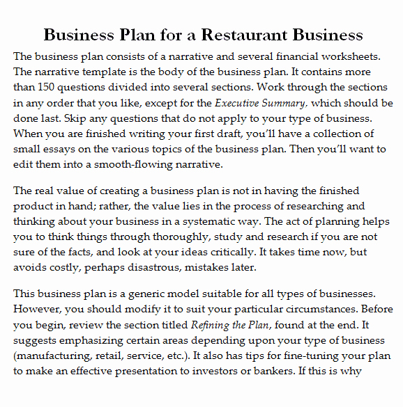 Restaurant Business Plan Pdf Elegant 32 Free Restaurant Business Plan Templates In Word Excel Pdf