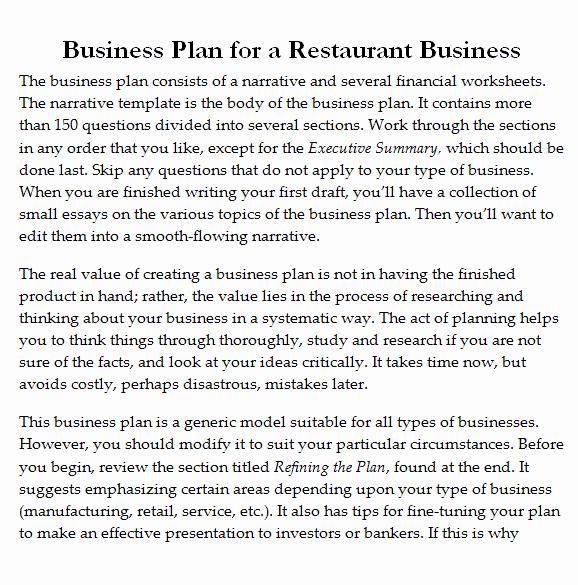 Restaurant Business Plan Pdf Elegant 32 Free Restaurant Business Plan Templates In Word Excel Pdf