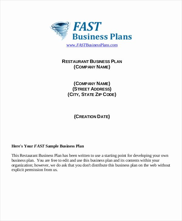 Restaurant Business Plan Pdf Elegant 40 Plan Samples & Templates In Pdf