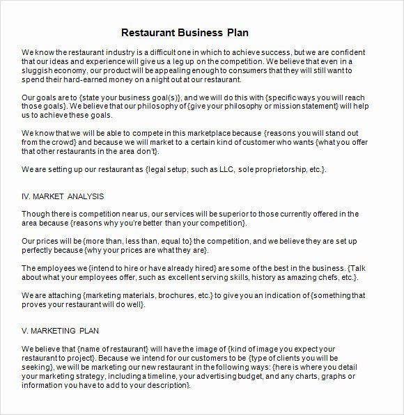 Restaurant Business Plan Pdf Fresh Free 20 Sample Restaurant Business Plan Templates In