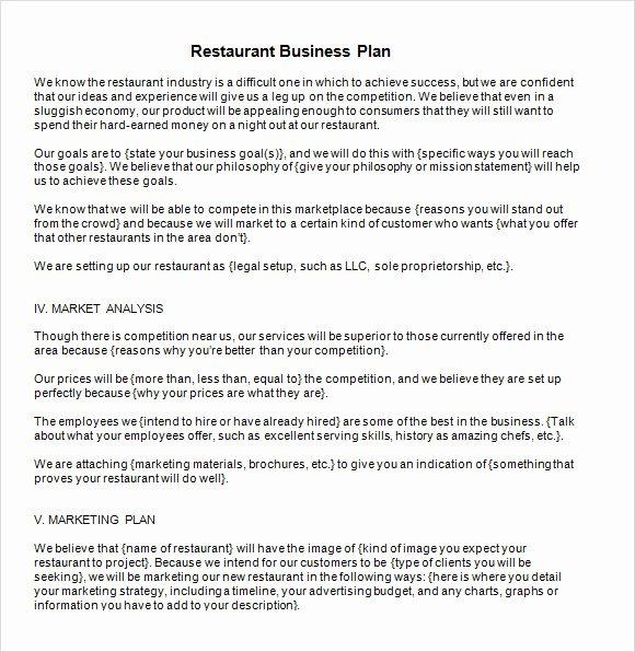 Restaurant Business Plan Pdf Fresh Free 20 Sample Restaurant Business Plan Templates In
