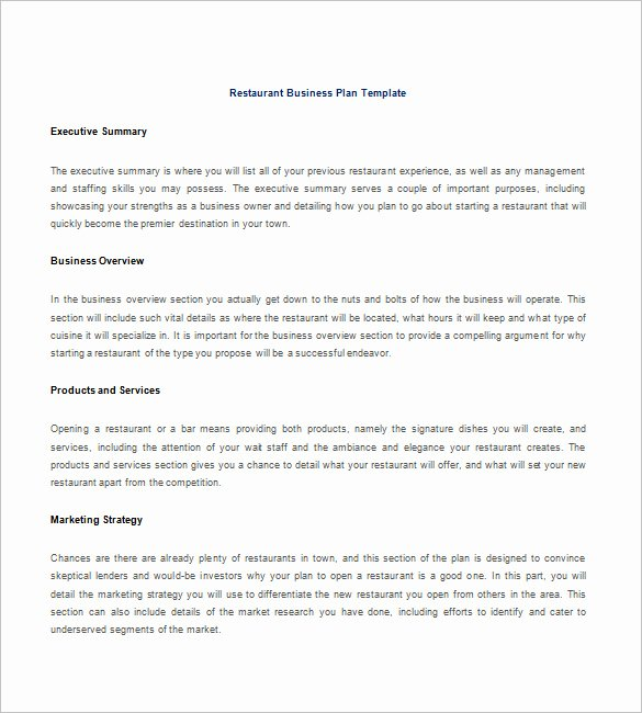 Restaurant Business Plan Pdf Luxury Restaurant Business Plan Template 21 Word Excel Pdf
