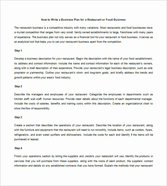 Restaurant Business Plan Pdf Unique Restaurant Business Plan Template 21 Word Excel Pdf