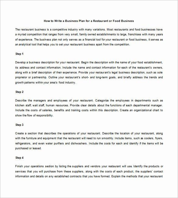 Restaurant Business Plan Pdf Unique Restaurant Business Plan Template 21 Word Excel Pdf
