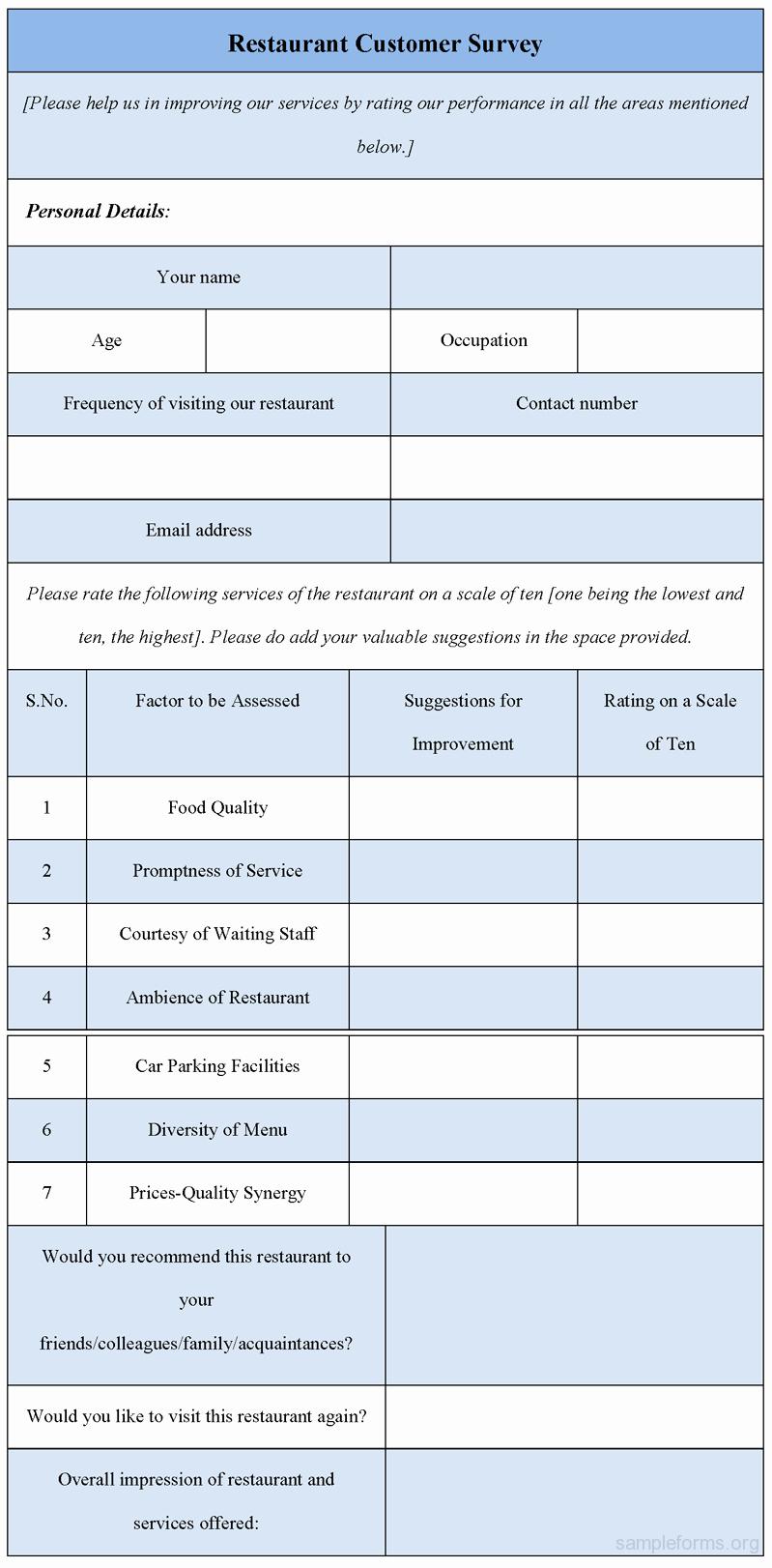 Restaurant Customer Satisfaction Survey Inspirational Restaurant Customer Survey form Sample forms