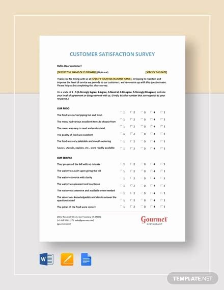 Restaurant Customer Satisfaction Survey Inspirational Sample Customer Satisfaction Survey Template 10 Free Documents In Word Pdf