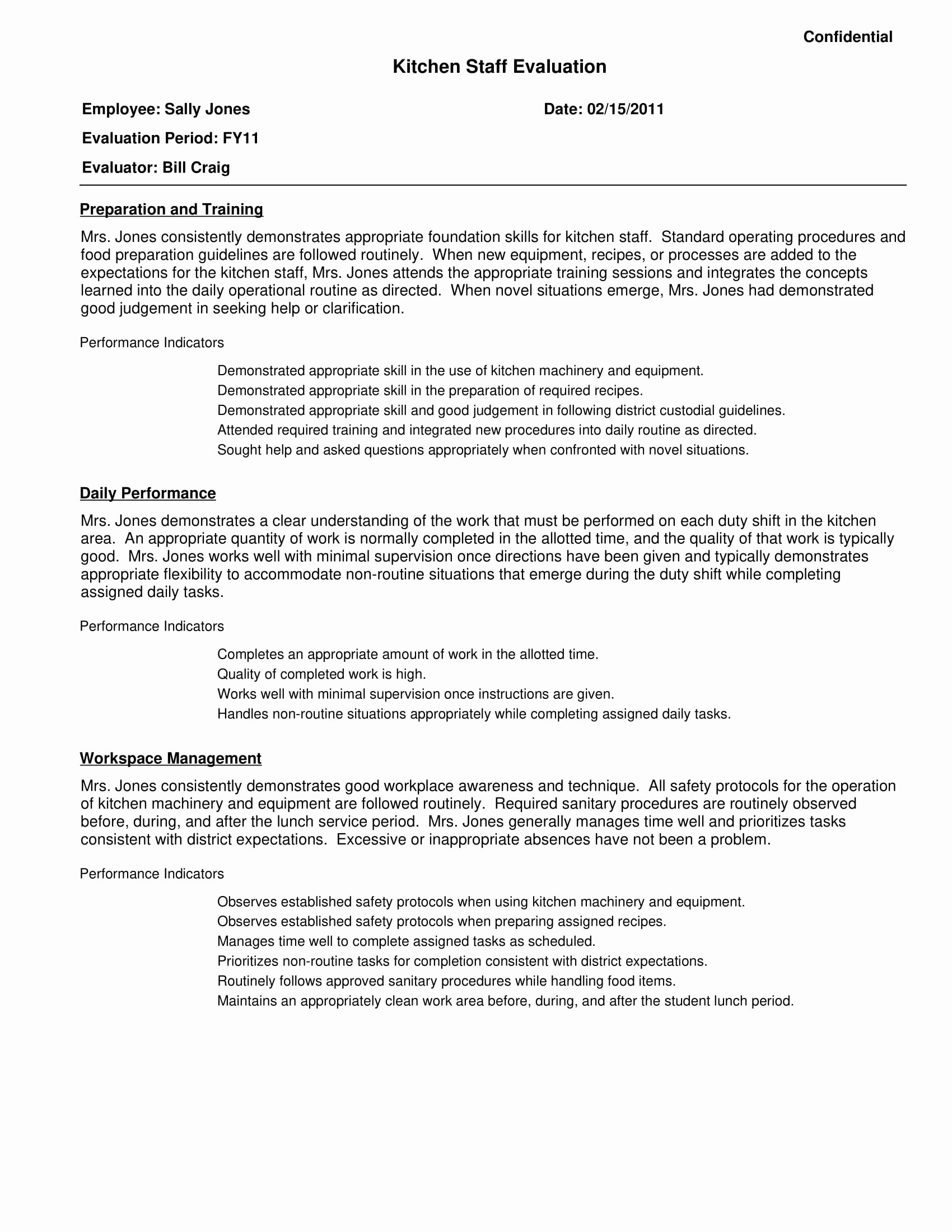 Restaurant Employee Evaluation form Best Of Free 7 Restaurant Employee Evaluation forms In Pdf