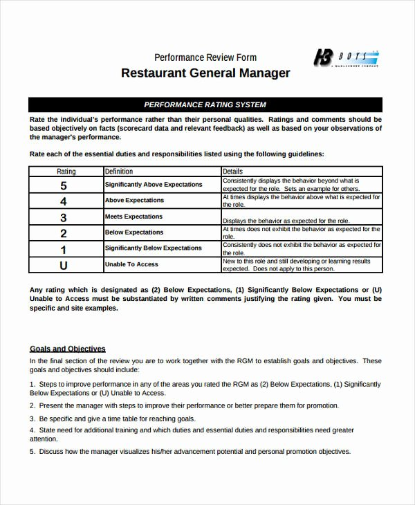 Restaurant Employee Evaluation form New Free 7 Sample Restaurant Evaluation forms
