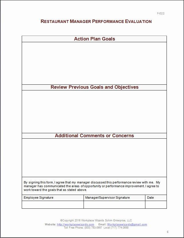 Restaurant Employee Evaluation forms Beautiful Restaurant Manager Performance Evaluation form