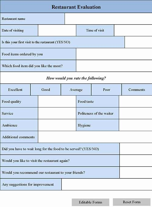 Restaurant Employee Evaluation forms Inspirational Restaurant Evaluation forms All You Need to Know About