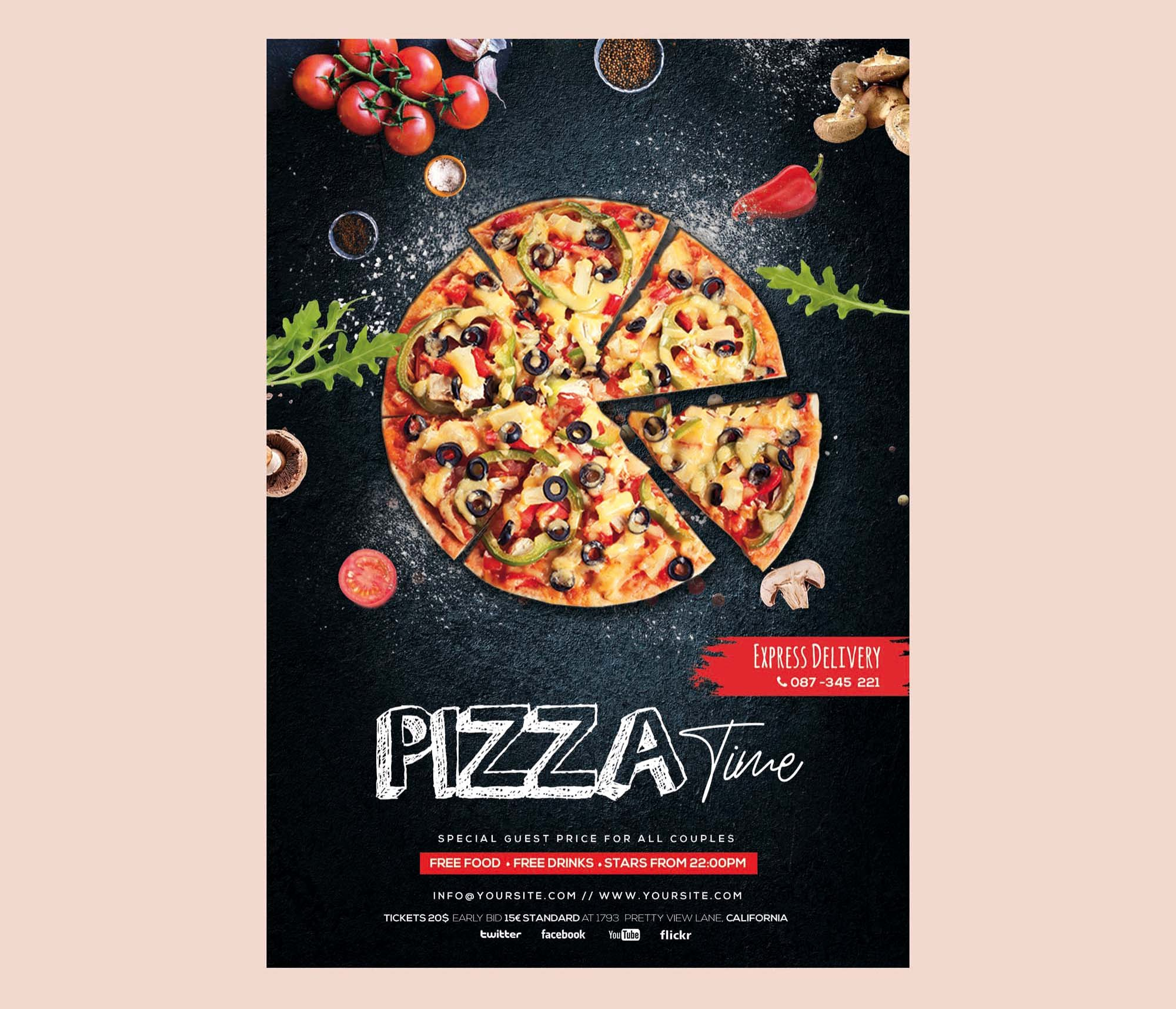 Restaurant Flyer Template Free New Free Pizza Restaurant Flyer Template Psd