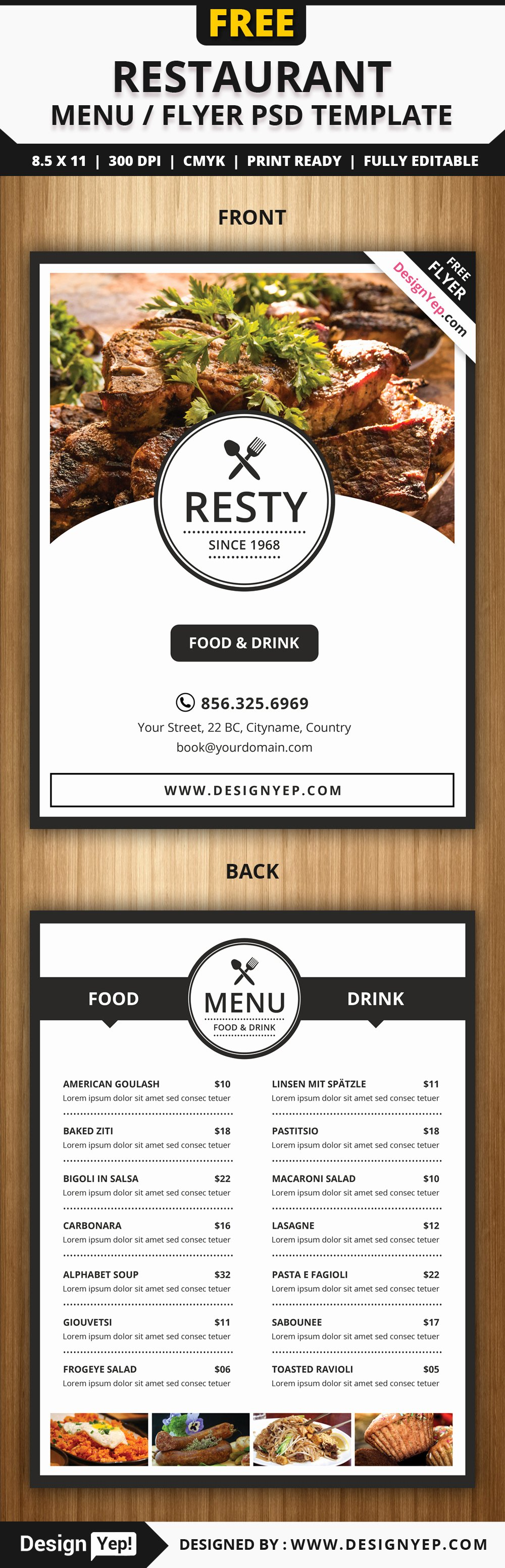 Restaurant Flyer Templates Free Awesome Free Restaurant Menu Flyer Psd Template Designyep