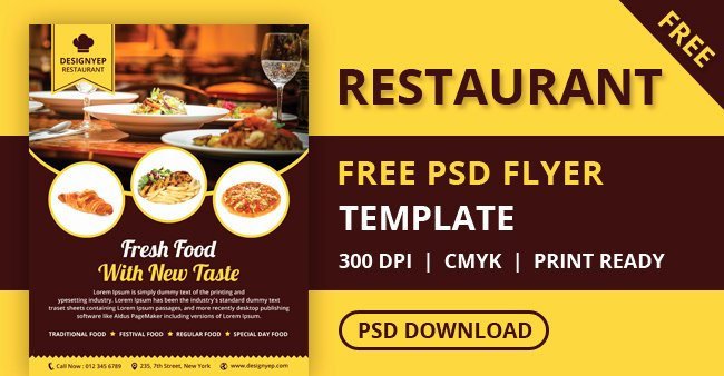 Restaurant Flyer Templates Free Best Of Free Restaurant Flyer Psd Template Designyep