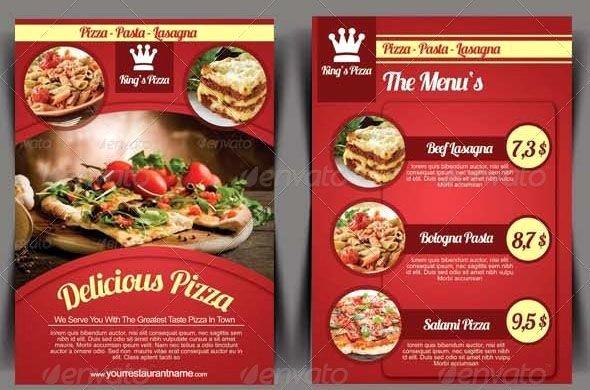 Restaurant Flyer Templates Free Elegant Elegant Pizza Restaurant Flyer Template Menu