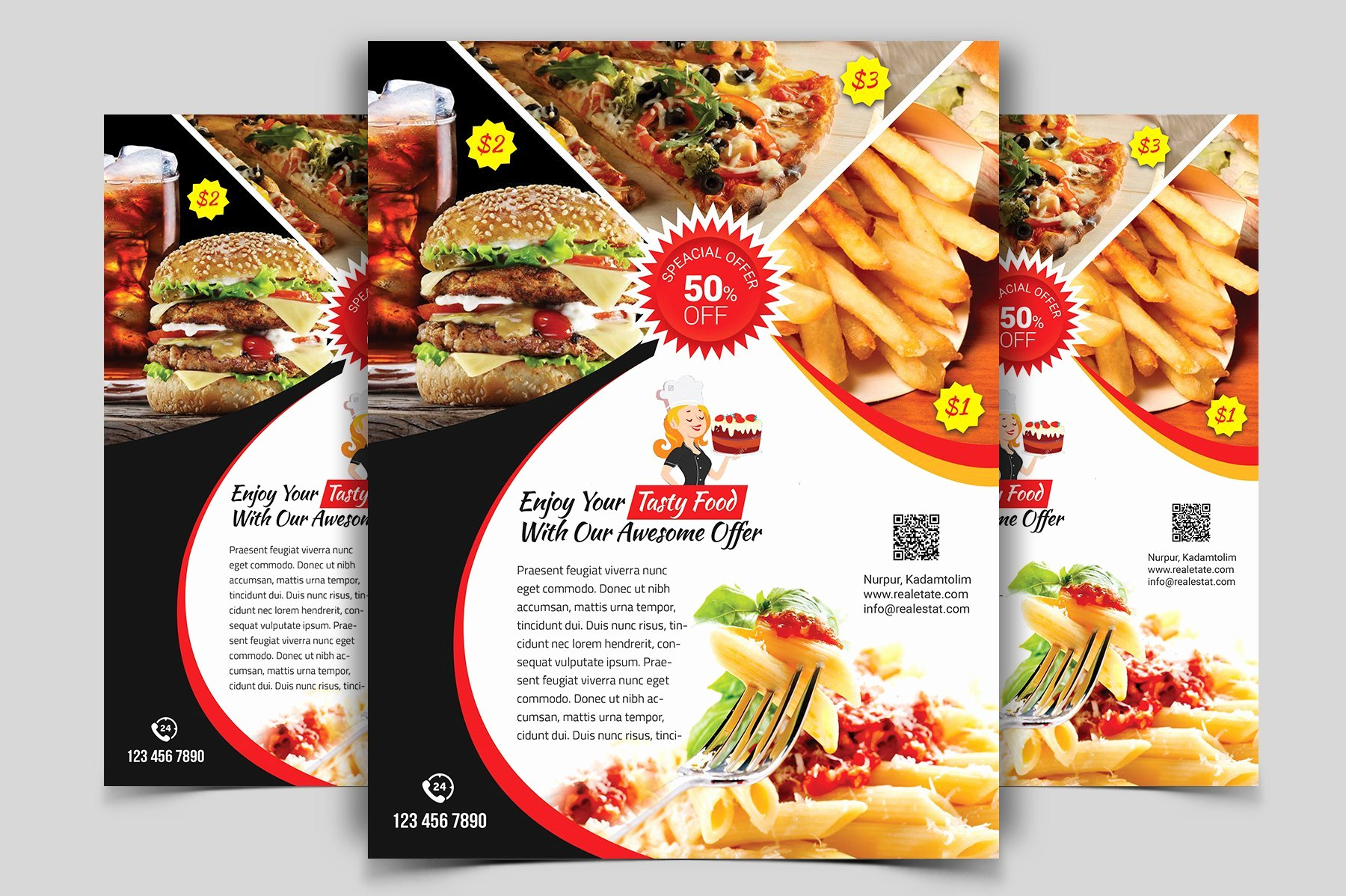 Restaurant Flyer Templates Free Elegant Restaurant Flyer Vol 01 Flyer Templates Creative Market