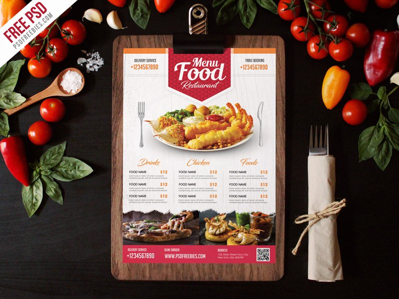 Restaurant Flyer Templates Free Lovely Free Psd Simple Restaurant Food Menu Flyer Template by
