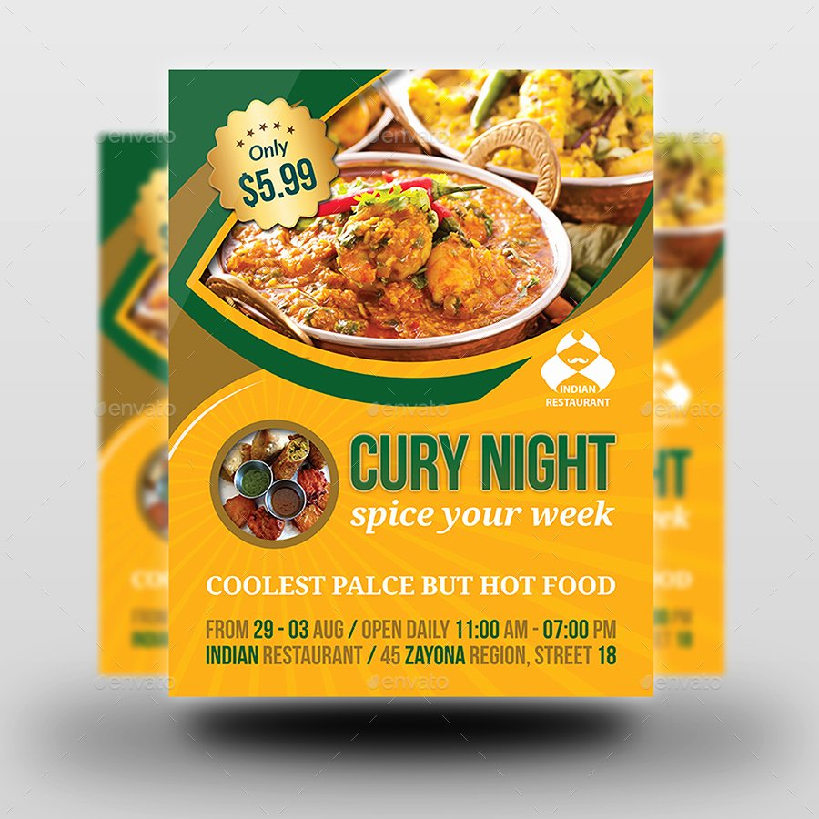 Restaurant Flyer Templates Free New Indian Restaurant Advertising Bundle Template by