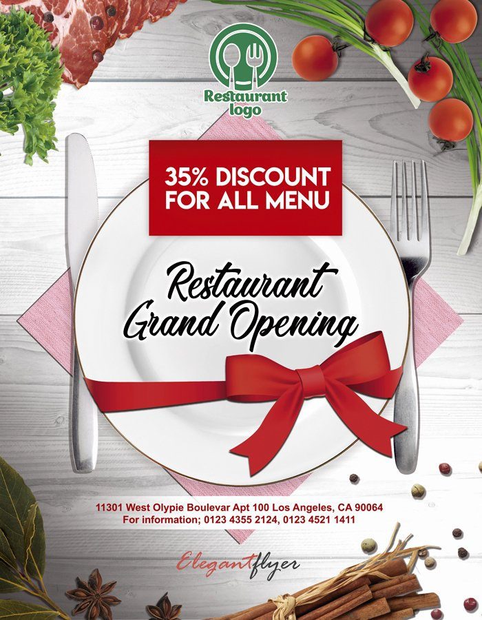 Restaurant Flyers Templates Free Awesome Restaurant Opening – Free Flyer Psd Template – by Elegantflyer