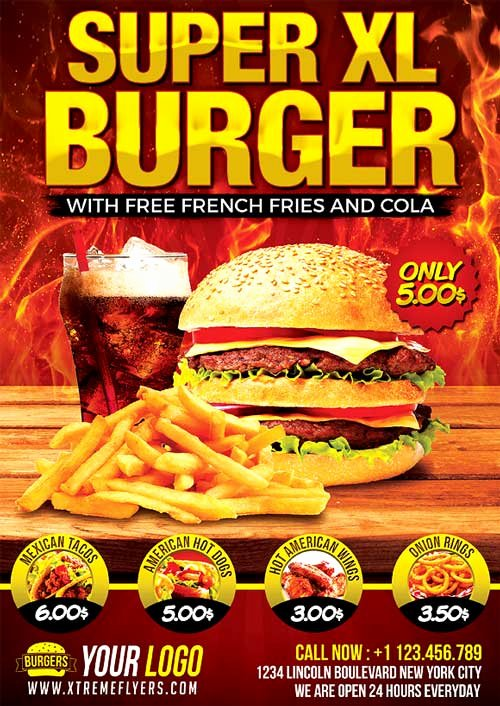 Restaurant Flyers Templates Free Beautiful Fast Food Flyer Template Psd Download Xtremeflyers
