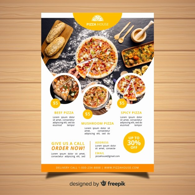 Restaurant Flyers Templates Free Lovely Modern Pizza Restaurant Flyer Template Vector