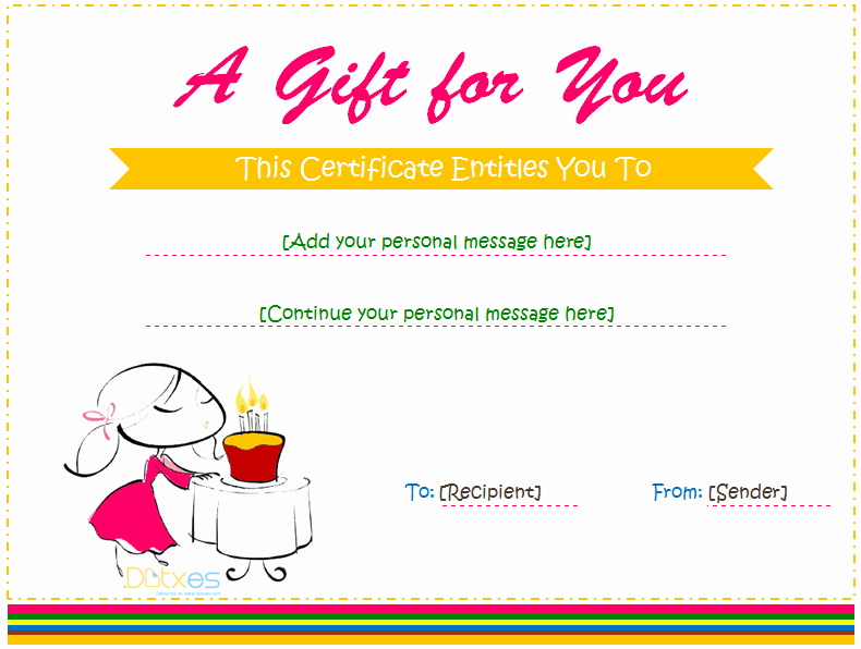 Restaurant Gift Certificates Templates Best Of Birthday Gift Certificate Templates for Girls and Boys