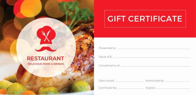 Restaurant Gift Certificates Templates Elegant 20 Restaurant Gift Certificate Templates – Free Sample Example format Download