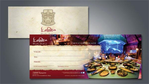 Restaurant Gift Certificates Templates Fresh 10 Restaurant Gift Certificate Templates Doc Psd Eps