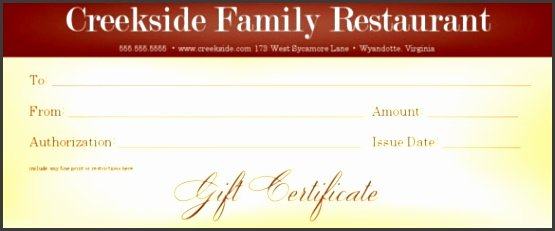 Restaurant Gift Certificates Templates Inspirational 7 Restaurant Gift Certificate Template Sampletemplatess Sampletemplatess